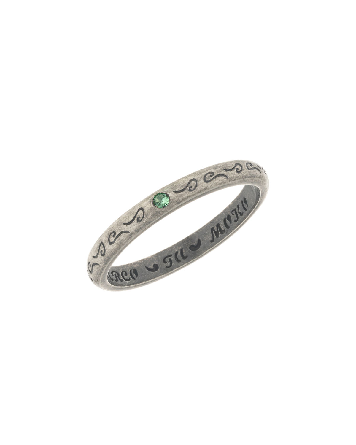 MARCO TA MOKO Men'S Flat Silver Band Ring With Green Sapphire, Size 10.5