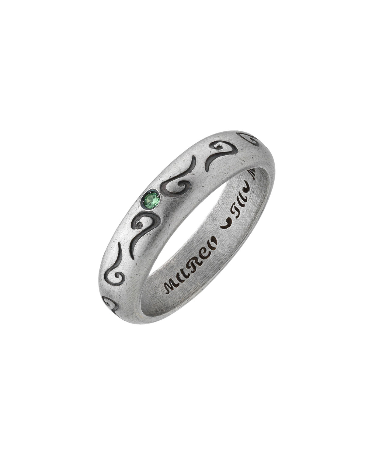 MARCO TA MOKO Men'S Silver Band Ring With Green Sapphire, Size 10