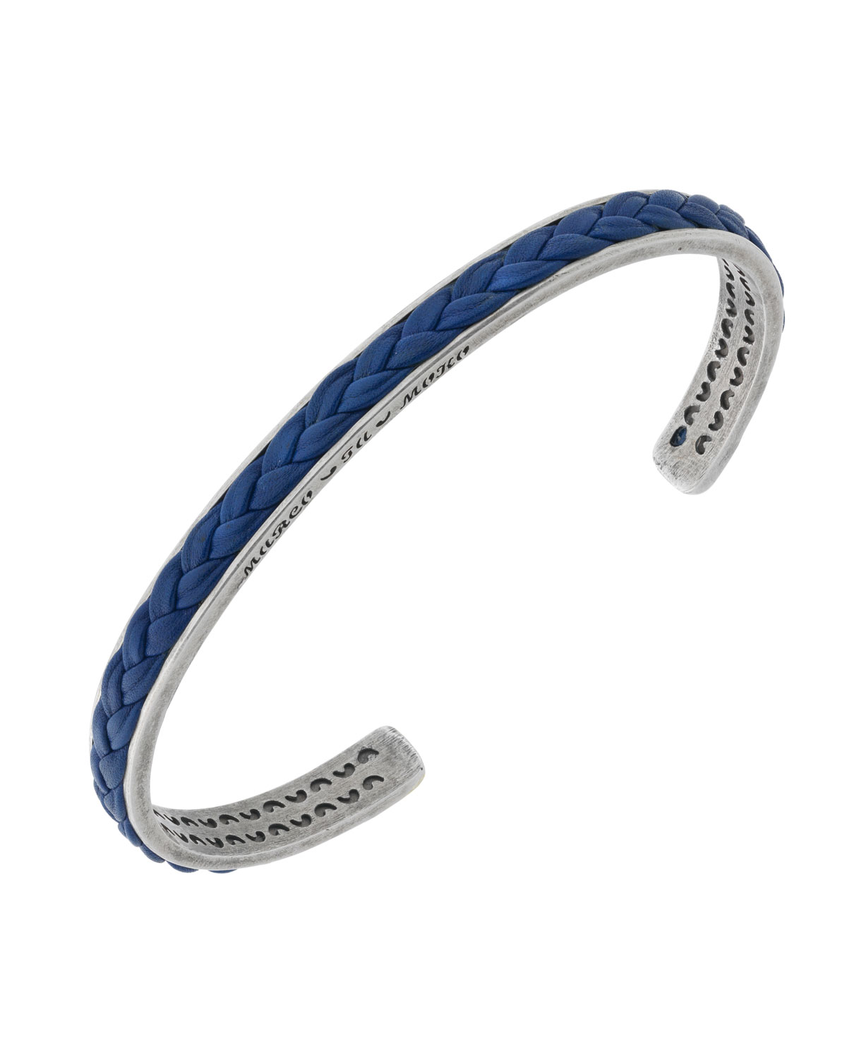 MARCO TA MOKO Men'S Braided Leather/Silver Kick Cuff Bracelet, Blue
