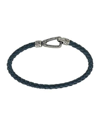 Men's Thin Leather Bracelet, Blue