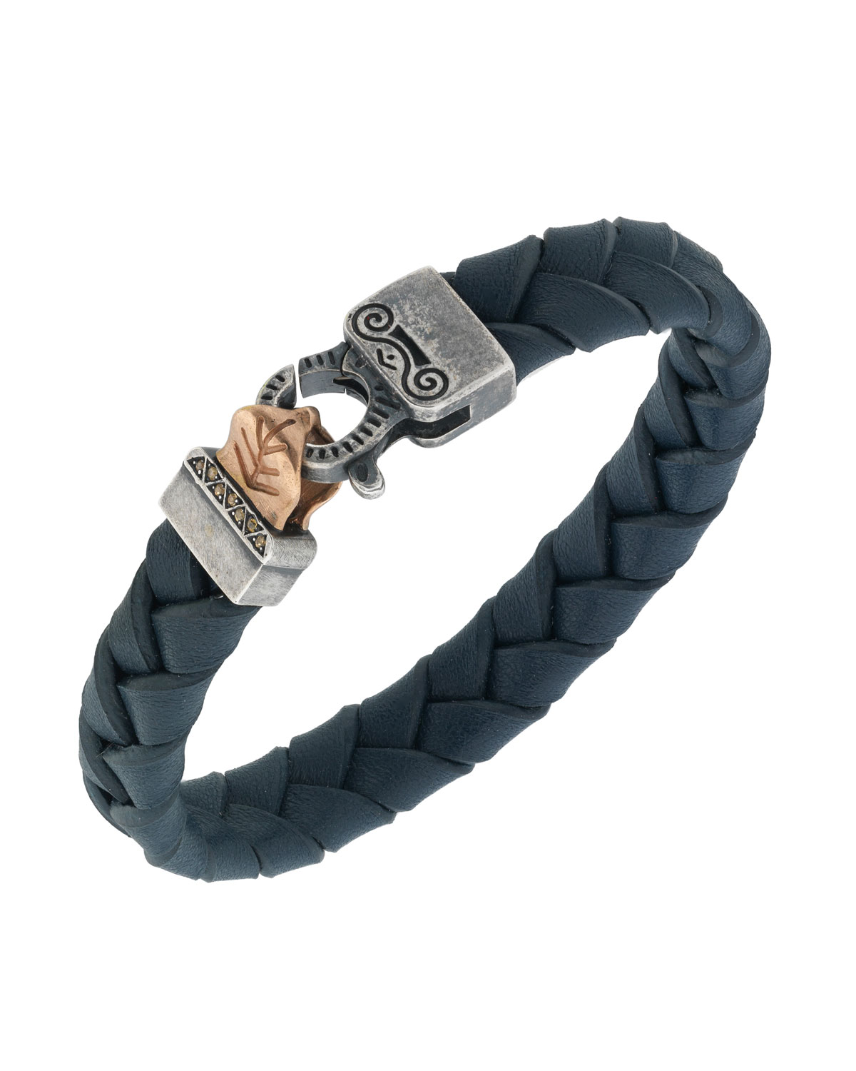 MARCO DAL MASO MEN'S WOVEN LEATHER BRACELET W/ ROSE GOLD-PLATED CLASP, BLUE