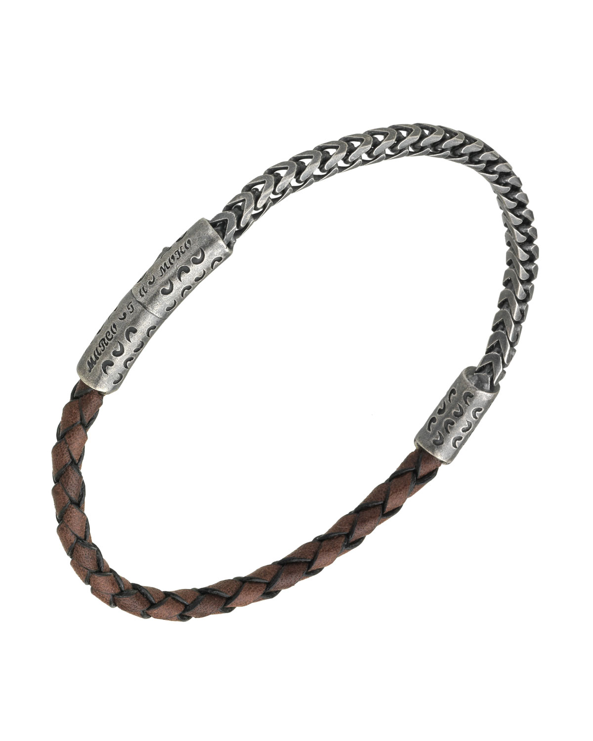 MARCO DAL MASO MEN'S STERLING SILVER & LEATHER BRACELET, BROWN
