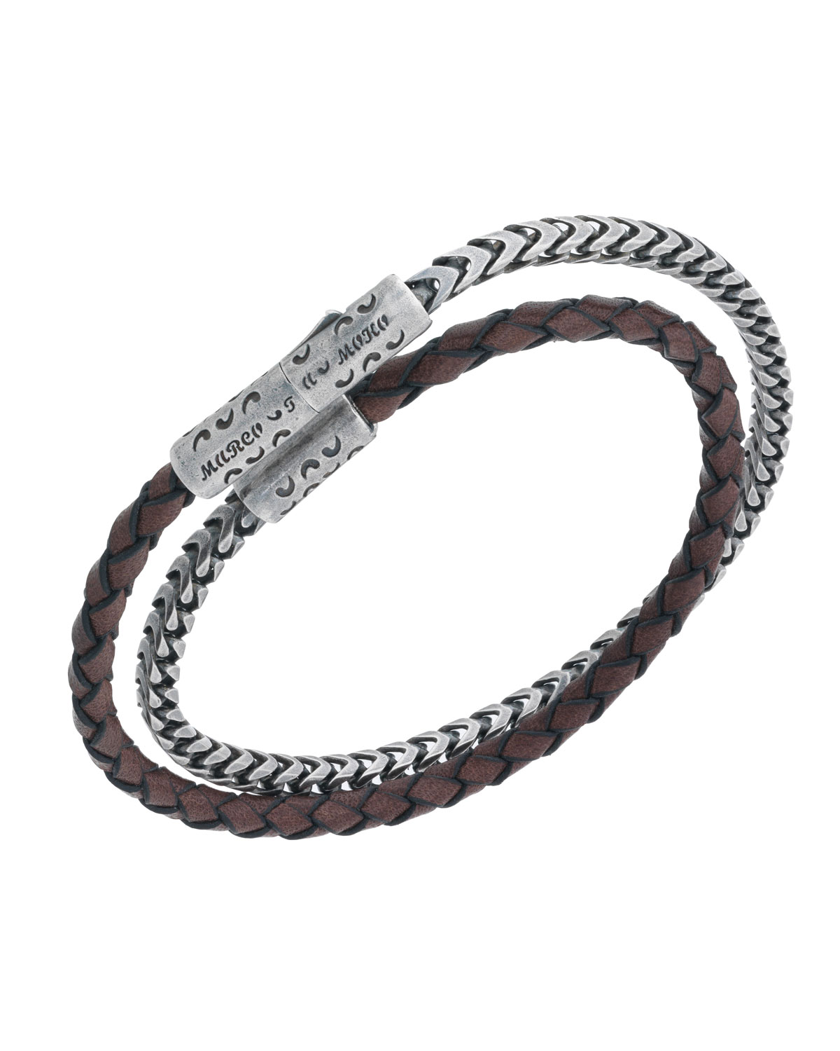 MARCO DAL MASO MEN'S LASH STERLING SILVER & LEATHER WRAP BRACELET