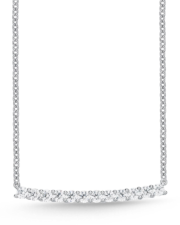 MEMOIRE 18K WHITE GOLD LARGE DIAMOND BAR PENDANT NECKLACE