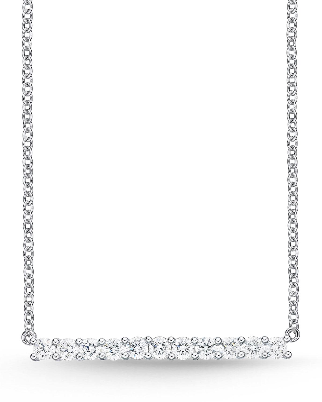 MEMOIRE 18K WHITE GOLD MEDIUM DIAMOND BAR PENDANT NECKLACE