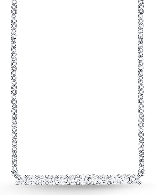 MEMOIRE 18K WHITE GOLD SMALL DIAMOND BAR PENDANT NECKLACE