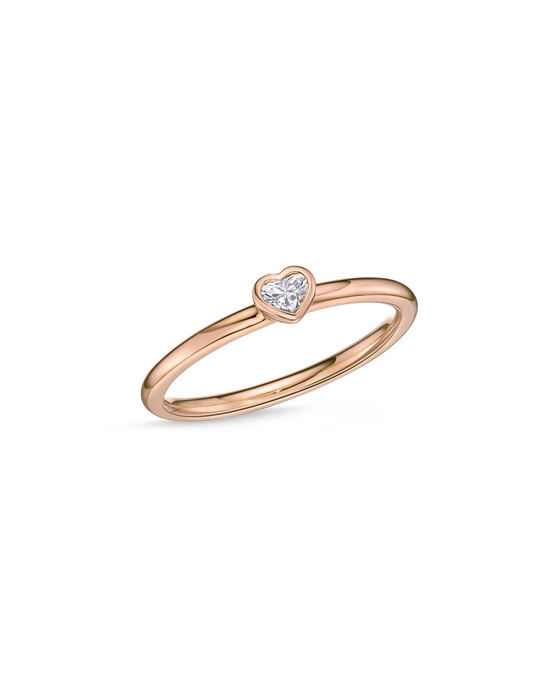 MEMOIRE 18K ROSE GOLD HEART DIAMOND STACK RING, SIZE 6.5