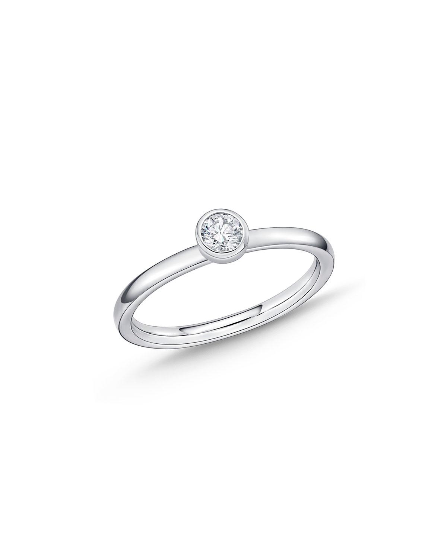 MEMOIRE 18K WHITE GOLD BRILLIANT-CUT DIAMOND STACK RING, SIZE 6.5