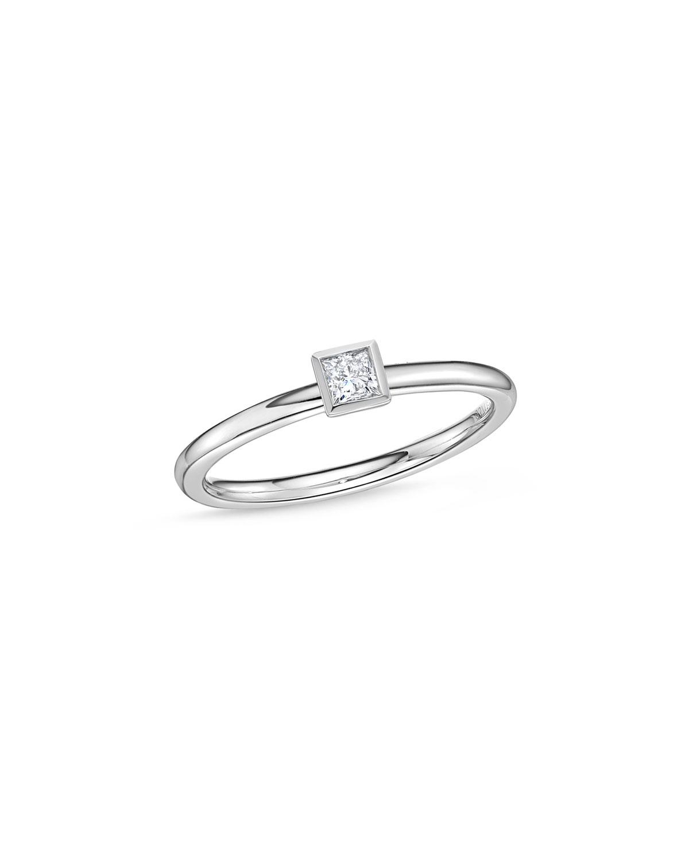 MEMOIRE 18K WHITE GOLD PRINCESS-CUT DIAMOND STACK RING, SIZE 6.5