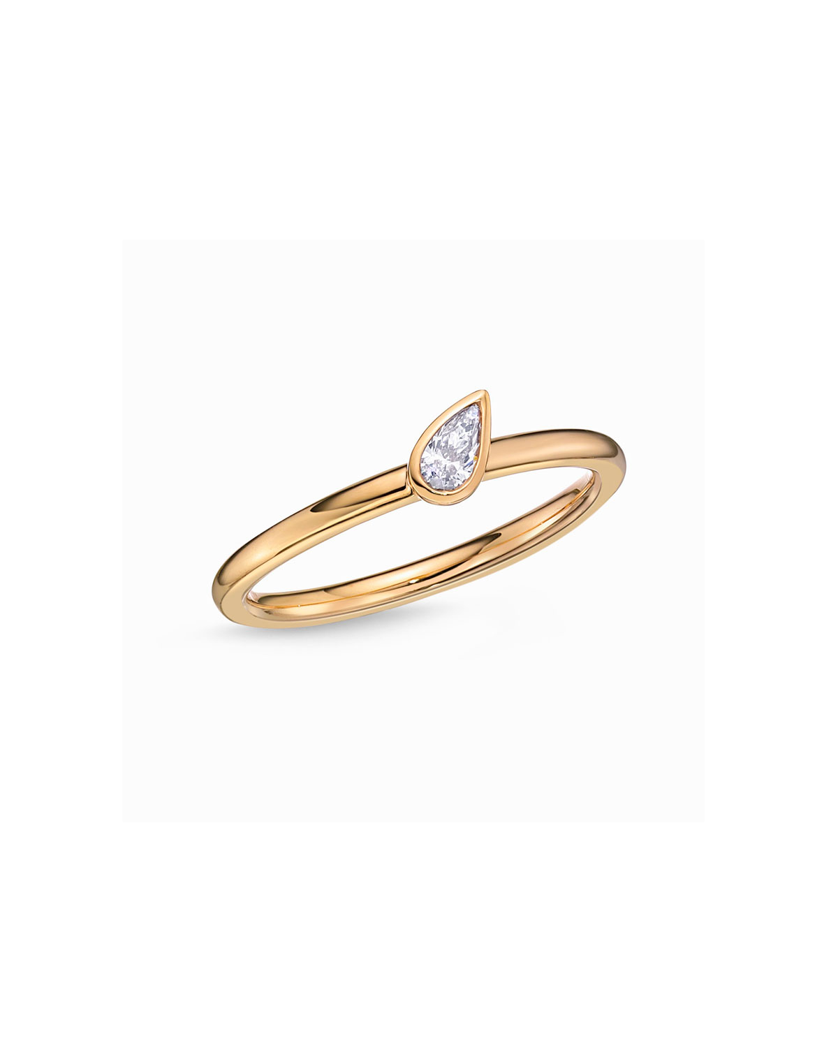MEMOIRE 18K Yellow Gold Pear Diamond Stack Ring, Size 6.5