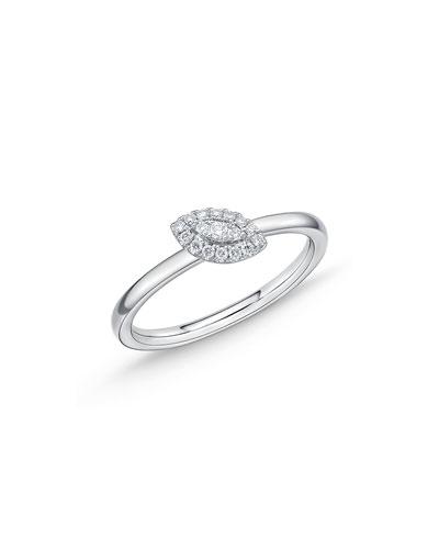 18k White Gold Diamond Offset Evil Eye Stack Ring, Size 6.5