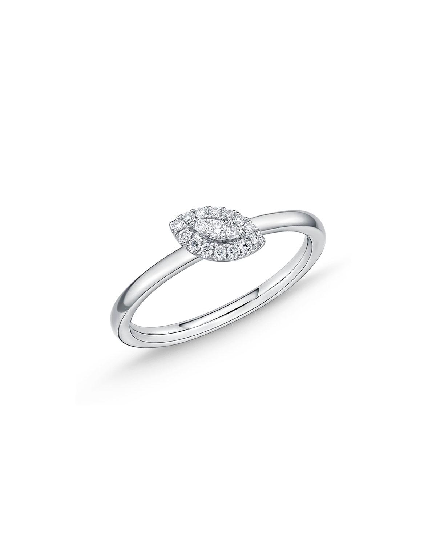 MEMOIRE 18K WHITE GOLD DIAMOND OFFSET EVIL EYE STACK RING, SIZE 6.5