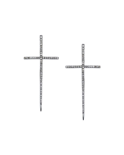 Silver Spike Cross Pave Diamond Earrings