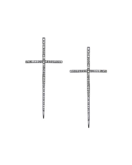 Sheryl Lowe Silver Spike Cross Pave Diamond Earrings