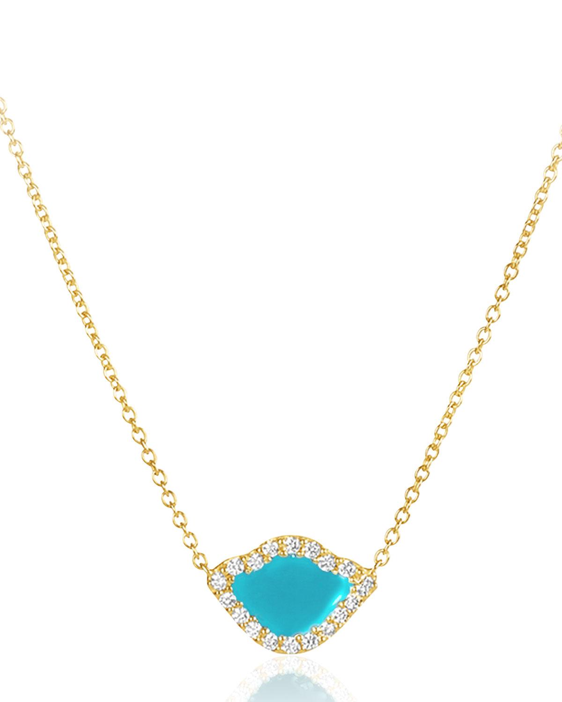 """LEGEND AMRAPALI 18K GOLD KAMALINI LOTUS NECKLACE W/ DIAMONDS & TURQUOISE ENAMEL, 16"""""""