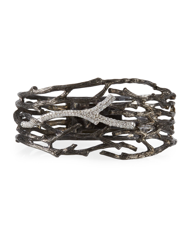 Enchanted Forest Multi-Twig Cuff Bracelet w/ Diamonds, Black