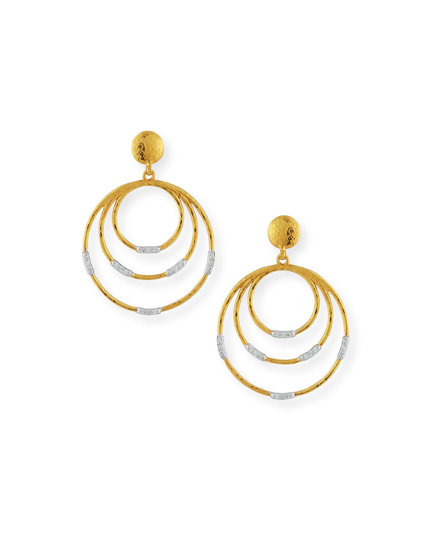 GURHAN 22K GOLD DELICATE GEO ROUND DROP EARRINGS W/ DIAMONDS