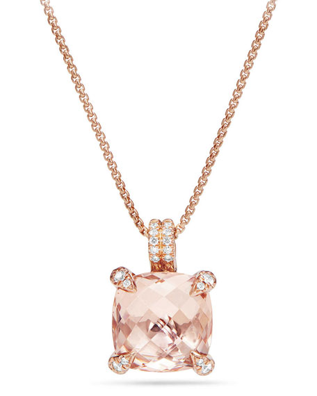 David Yurman Châtelaine 18k Rose Gold Pendant Necklace w/ Morganite & Diamonds