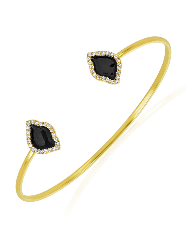 LEGEND AMRAPALI 18K GOLD NALIKA LOTUS CUFF BRACELET W/ DIAMONDS & BLACK ENAMEL, 0.374TCW