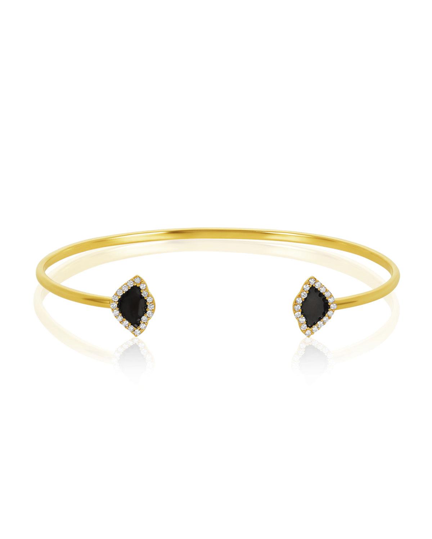 LEGEND AMRAPALI 18K GOLD KAMALINI LOTUS CUFF BRACELET W/ DIAMONDS & BLACK ENAMEL, 0.2248TCW