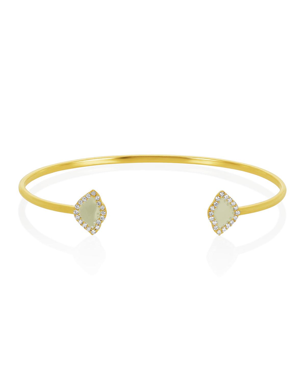 LEGEND AMRAPALI 18K GOLD KAMALINI LOTUS CUFF BRACELET W/ DIAMONDS & WHITE ENAMEL, 0.2248TCW