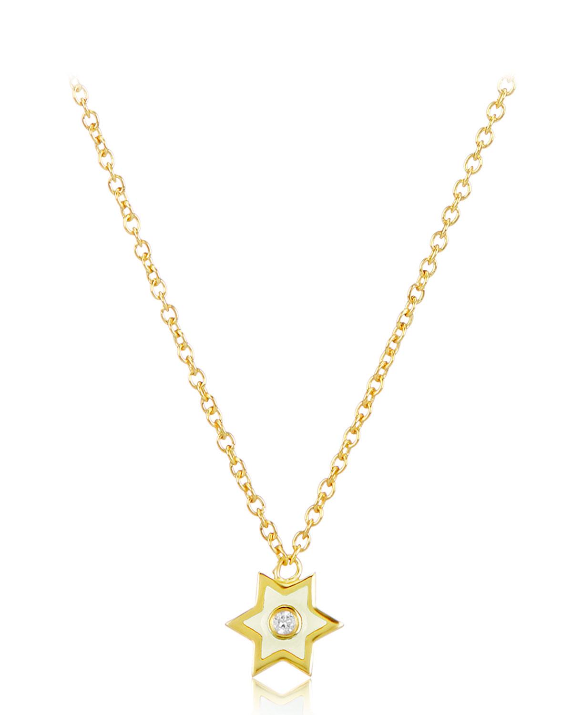 LEGEND AMRAPALI 18K GOLD MINI ENAMEL ICON STAR PENDANT NECKLACE W/ DIAMOND, WHITE