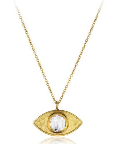 18k Kundan Vintage Evil Eye Pendant Necklace, 24