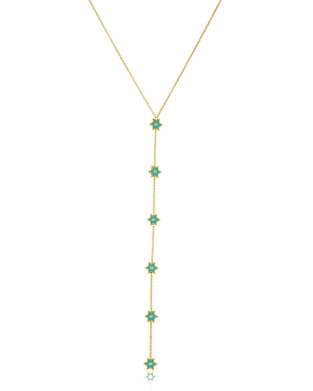 """LEGEND AMRAPALI 18K GOLD MINI ICON Y-NECKLACE W/ DIAMONDS & TURQUOISE ENAMEL, 24"""""""