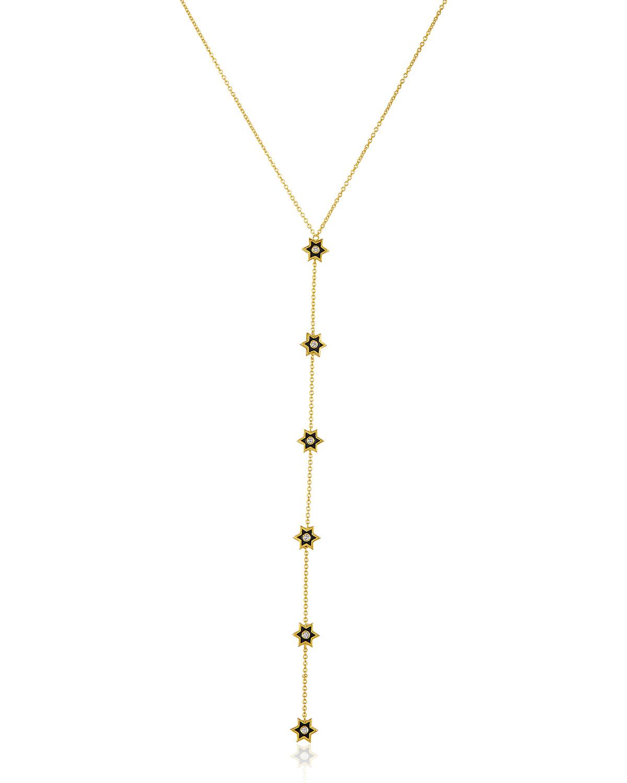 "LEGEND AMRAPALI 18K GOLD MINI ICON Y-NECKLACE W/ DIAMONDS & BLACK ENAMEL, 24"""