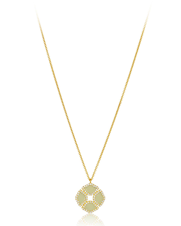 "LEGEND AMRAPALI 18K GOLD MINI MANJARI LOTUS NECKLACE W/ DIAMONDS & WHITE ENAMEL, 32"""
