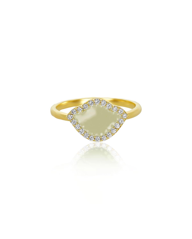 LEGEND AMRAPALI 18K GOLD NALIKA LOTUS STACK RING W/ DIAMONDS & WHITE ENAMEL