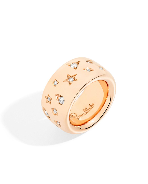 POMELLATO 18K ROSE GOLD ICONICA RING W/ DIAMONDS, 0.79 TCW