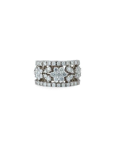 18k White Gold Diamond Flower Band Ring