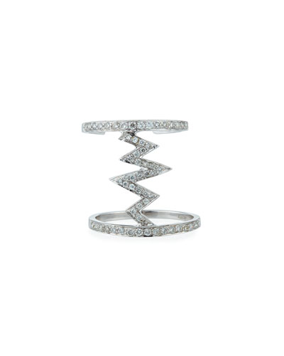18k White Gold Jagged Diamond Pave Ring, Size 5.5