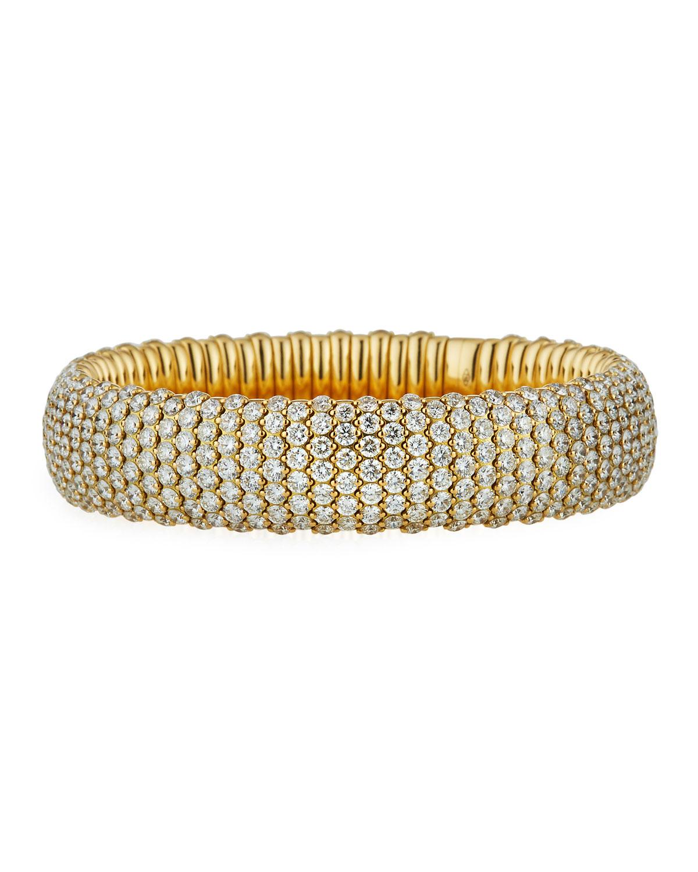 ZYDO 18K YELLOW GOLD WIDE STRETCH BRACELET W/ DIAMONDS