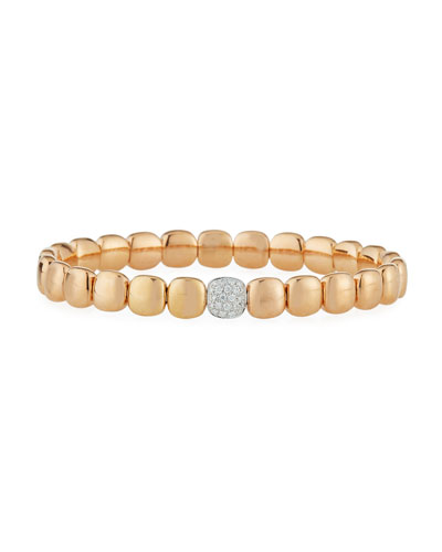 18k Rose Gold Stretch Bracelet w/ Diamond Station