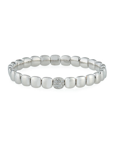 18k White Gold Stretch Bracelet w/ Diamond Station