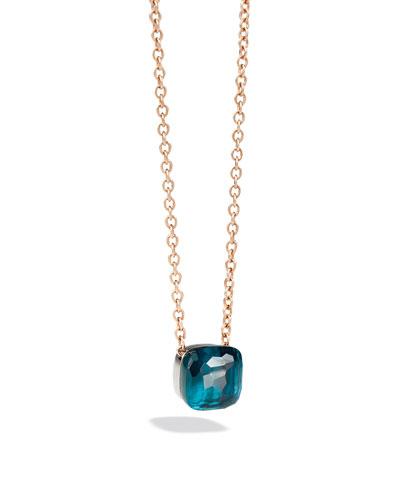 Nudo Grande 18k Rose Gold Blue Topaz Pendant Necklace