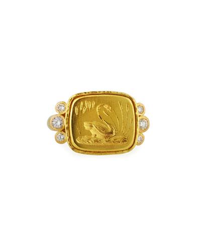 19k Gold Swan Signet Ring, Size 6.5