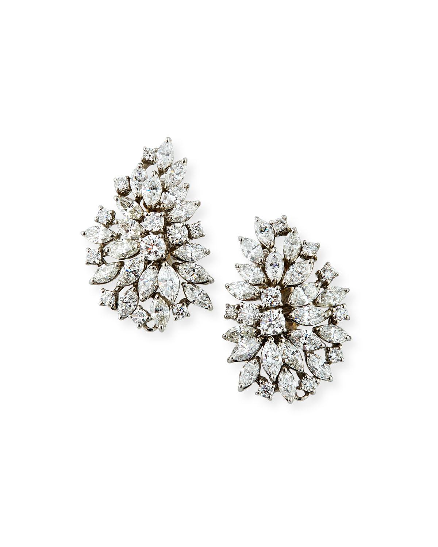 ZYDO 18K WHITE GOLD DIAMOND CLUSTER EARRINGS