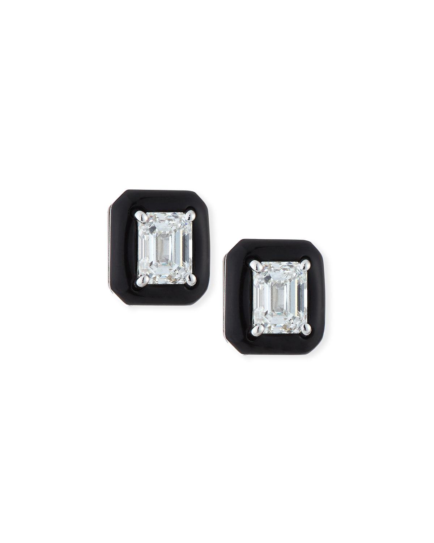 NIKOS KOULIS 18K OUI DIAMOND & BLACK ENAMEL OCTAGONAL STUD EARRINGS