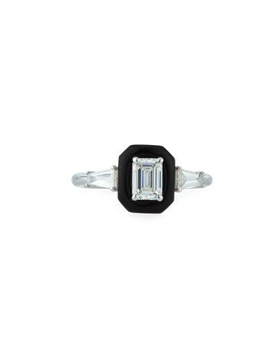 Oui 18k White Gold Diamond & Black Enamel Solitaire Ring