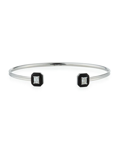 Oui 18k White Gold Diamond & Black Enamel Octagon Bangle Bracelet