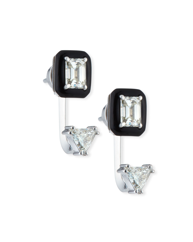 NIKOS KOULIS OUI 18K WHITE GOLD DOUBLE DIAMOND & BLACK ENAMEL DROP EARRINGS