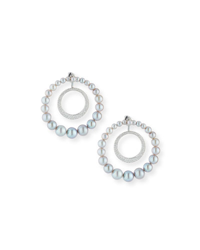 18k Lingerie Pearl & Diamond Hoop Earrings