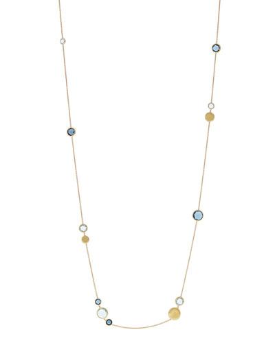 18k Jaipur Blue Topaz Station Necklace, 36