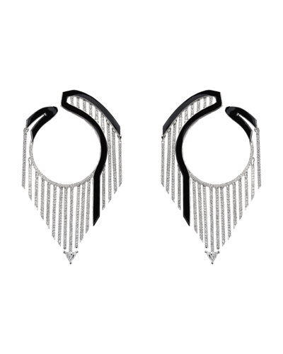 184212e6d Quick Look. Nikos Koulis · Oui 18k White Gold Drop Earrings w/ Diamonds &  Black Enamel