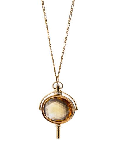 Pocket Watch Key Honey Quartz Oval Necklace