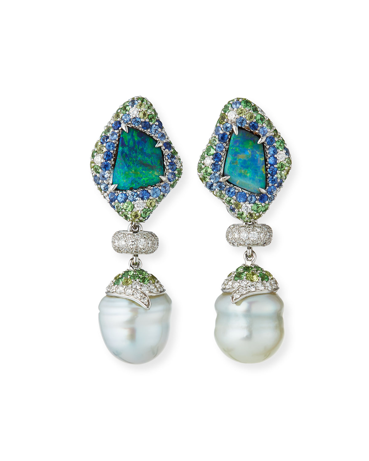 MARGOT MCKINNEY JEWELRY 18K White Gold Mixed Pave & Pearl Drop Earrings