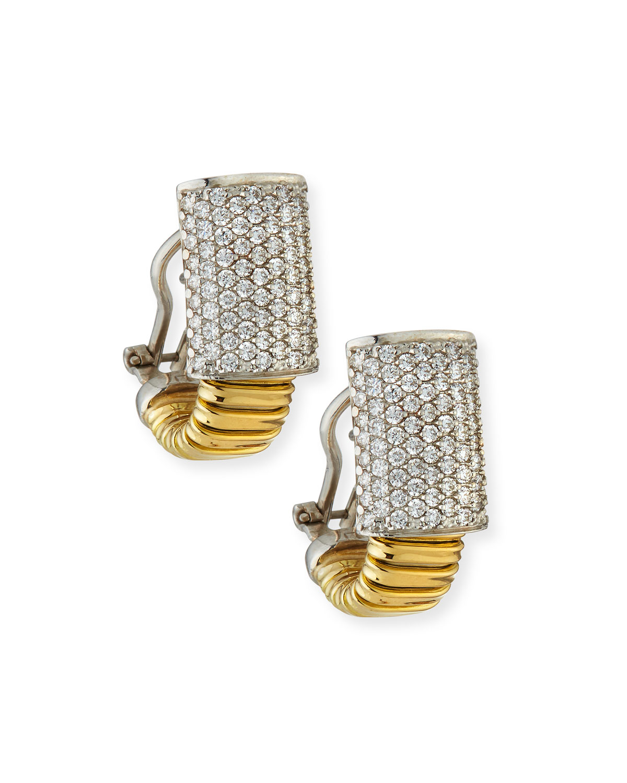 Piazza Mercanti 18k Tubogas Small Diamond Huggie Hoop Earrings